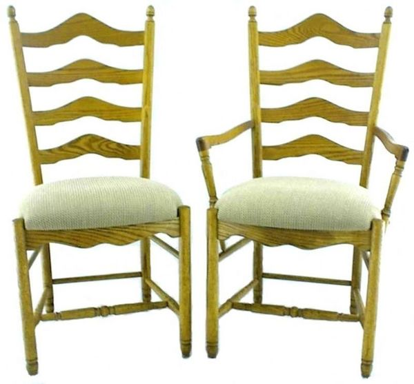 French Country Farmhouse Ladder-Back Dining Chair From