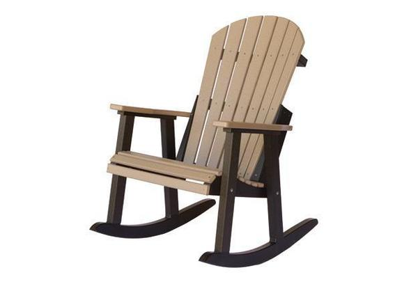 Weatherwood and Brown Adirondack Rocking Chair