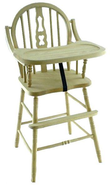 Amish Fiddle Back Oak Wood High Chair