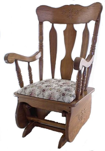 Amish Daisy Wood Glider with Upholstered Seat