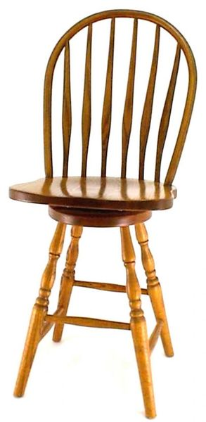 Amish Bent Feather Windsor Swivel Barstool