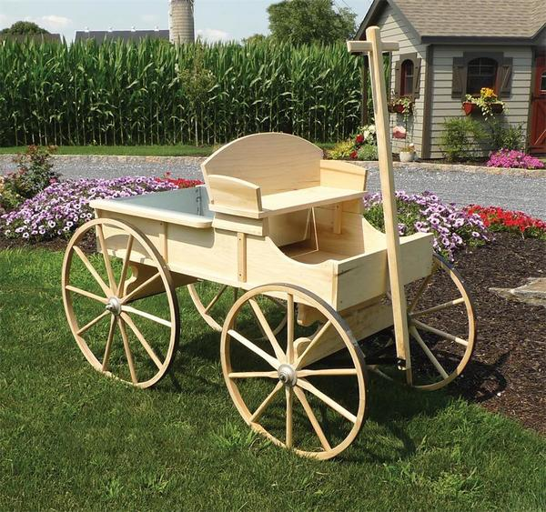 Amish Old Fashioned Buckboard Wagon - Large Premium