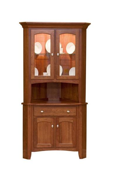Amish Concord Traditional Corner Hutch with Two Top Glass Doors and Two Bottom Wood Doors