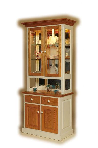 Amish Shaker Two-Door Mirrorback Hutch