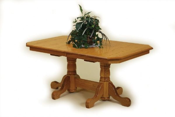 Amish Port Royal Double Pedestal Extension Dining Table