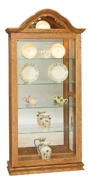 Amish Large Curio Cabinet with Curved Arched Top