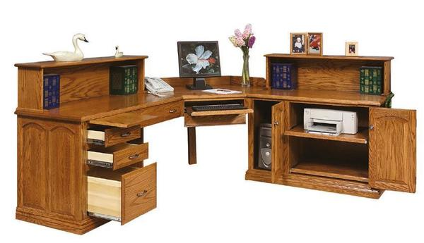 Amish L Desk with Bookcase Top