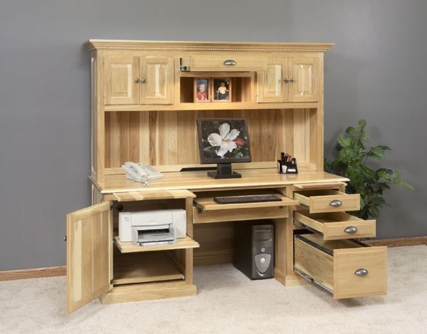 Amish Traditional Computer Desk with Hutch Top