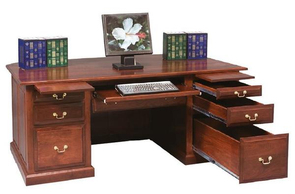 Amish Executive Desk with Raised Panel Back
