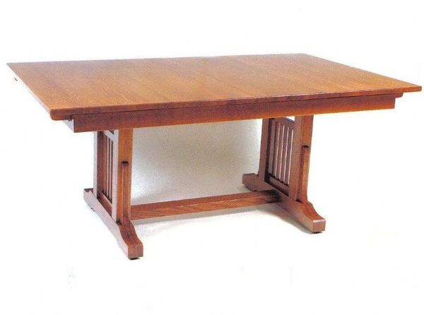 Amish American Craftsman Trestle Table with 4 Self Storing Extensions
