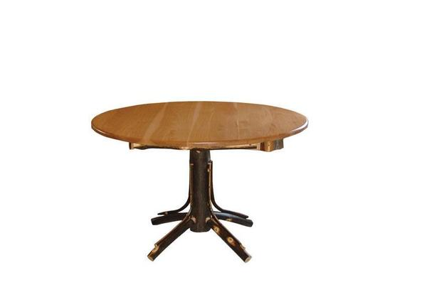 Amish Rustic Hickory Round Single Pedestal Dining Table