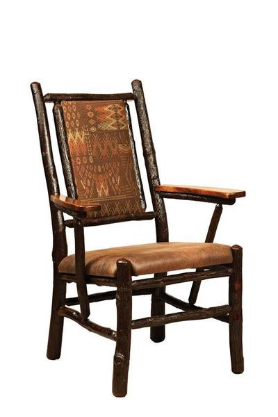 Amish Upholstered Fireside Rustic Hickory Arm Chair