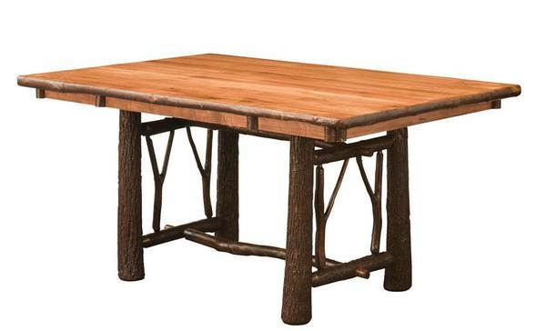 Amish Rustic Hickory Twig Trestle Table