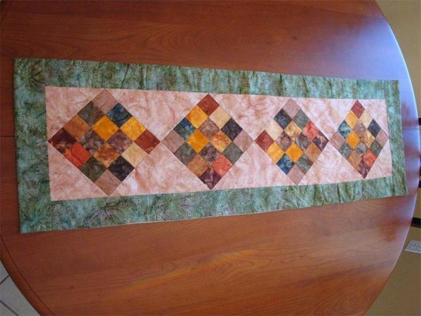 Quilted Block Table Runner with Batik Fabrics In Stock