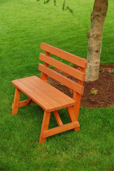 Amish Pine Wood Outdoor Bench