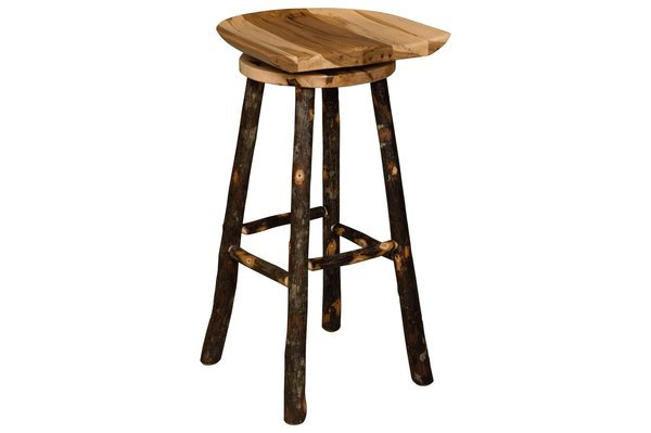 Amish Rustic Hickory Saddle Bar Stool