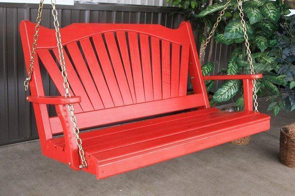 Amish Pine Wood Fanback Porch Swing