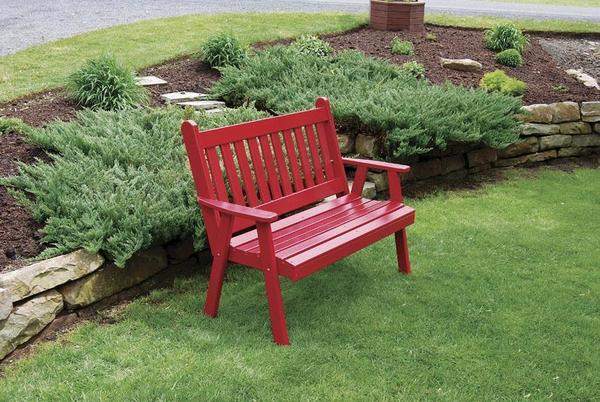 Amish Pine Wood Traditional English Garden Bench