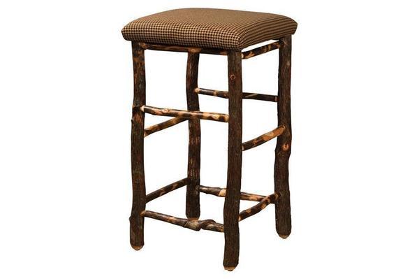 Amish Rustic Hickory Wood Square Bar Stool