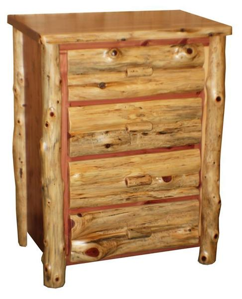 Amish Red Cedar Log Four Drawer Chest of Drawers