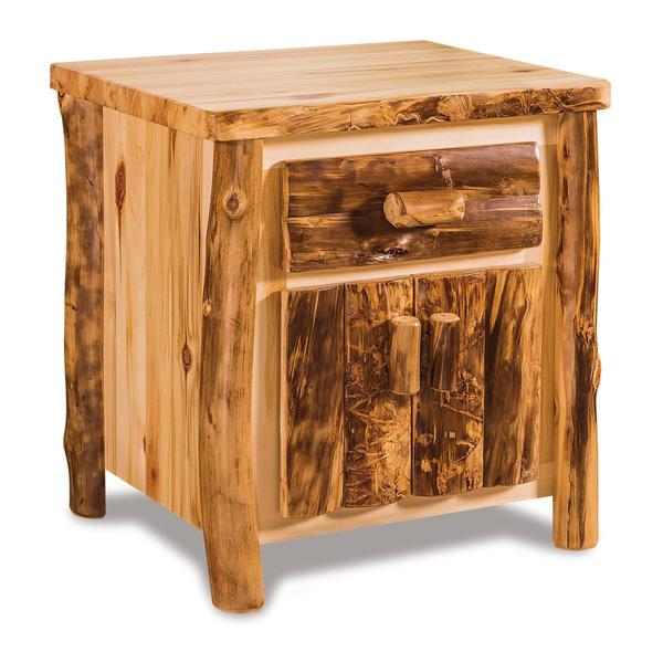 Amish Rustic Aspen Wood Night Stand