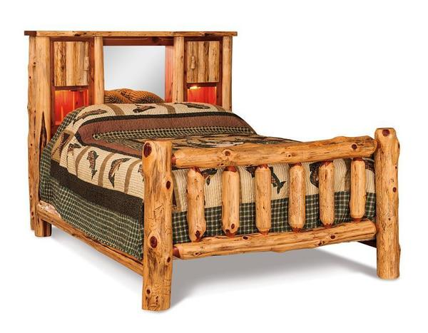 Amish Red Cedar Log Bookcase Bed with Optional Lights & Mirror