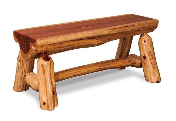 Amish Rustic Cedar Half Log Bench