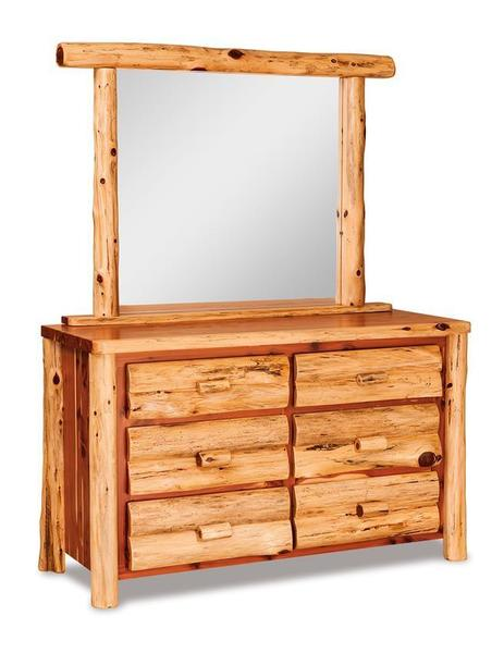 Amish Cedar Log 6 Drawer Dresser