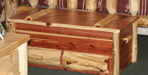 Amish Cedar Log Hope Chest with Drawers