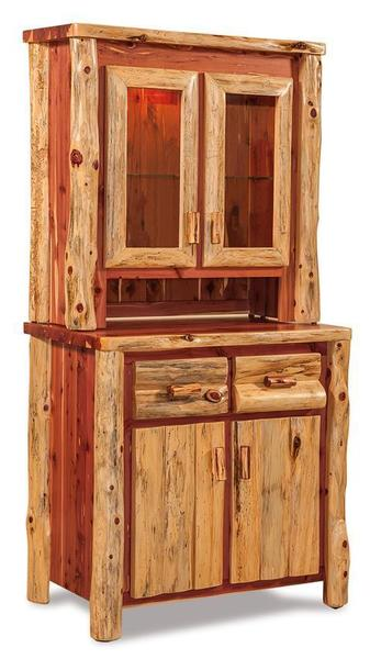 Amish Rustic Cedar Log Furniture Kitchen Hutch