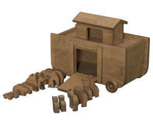 American Made Wood Toy Noah's Ark and Animal Set