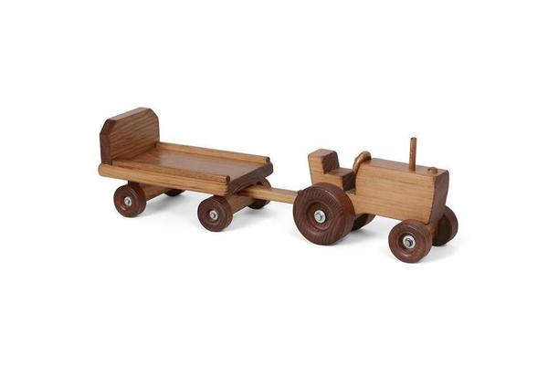 Amish Wooden Toy Tractor and Wagon