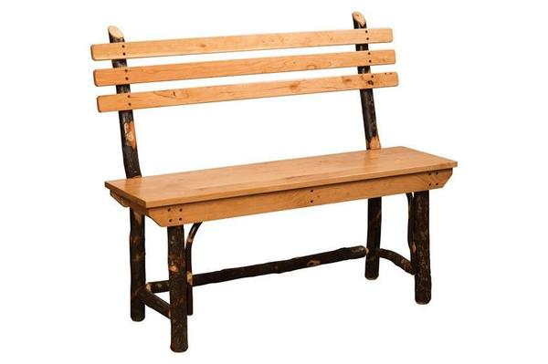 Amish Rustic Hickory Bench with Back