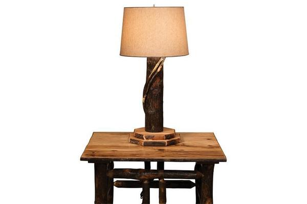 Amish Rustic Hickory Wood Table Lamp