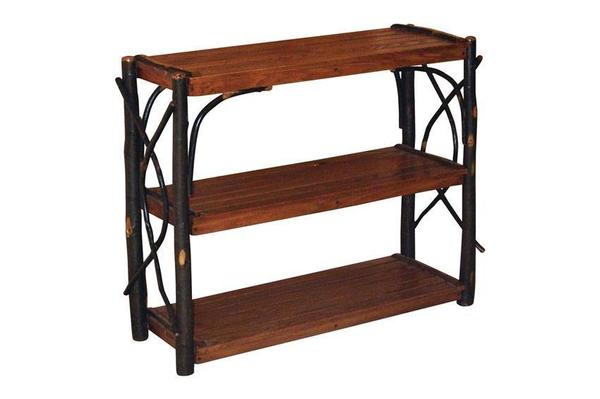 Amish Rustic Hickory Open Bookcase