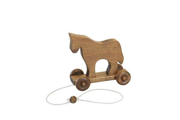 Amish Wooden Pull Toy for Toddlers - Horse