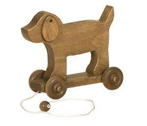 Amish Handcrafted Wooden Dog Pull Toy