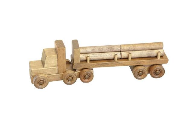 Amish Handmade Wooden Toy Truck with Logs