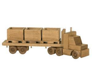 Amish Handmade Wooden Toy Flatbed Truck with Skids