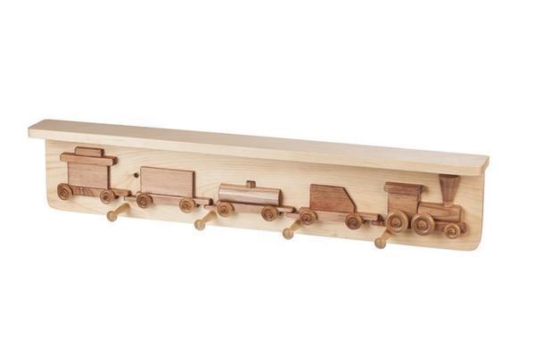 American Made Train Shelf with Coat Rack
