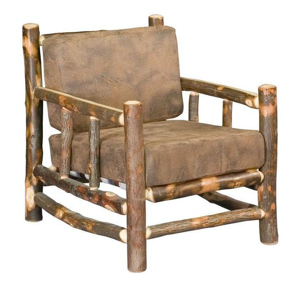 Amish Rustic Hickory Log Lodge Lounge Chair