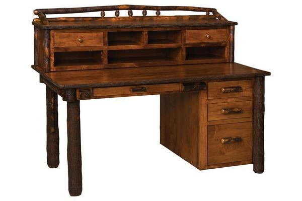 Amish Rustic Secretary Desk with Optional Organizer