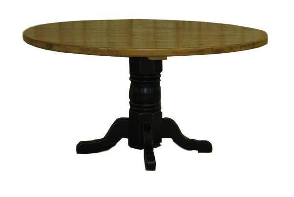 "Amish Round Oak Pedestal Table with 2"" Thick Barnwood Top"