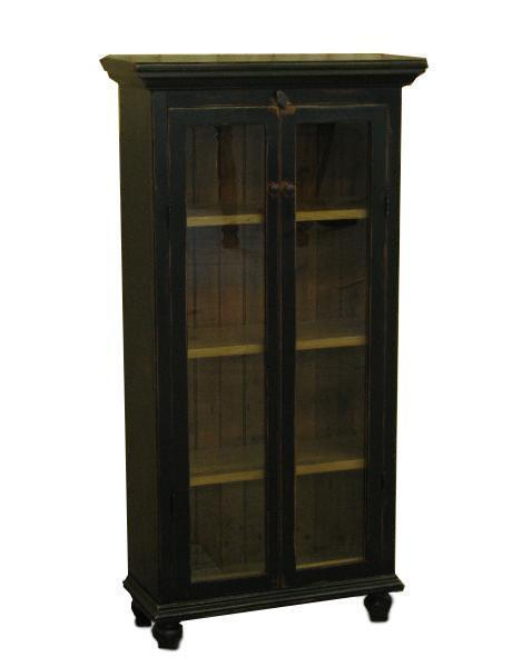 Amish Barnwood Glass Front Kitchen Cabinet