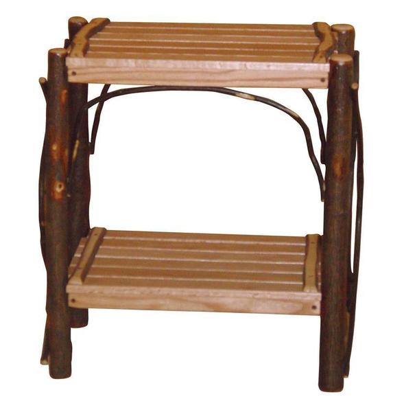 Amish Rustic Cabin Hickory Wood End Table