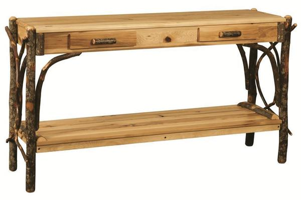 Amish Rustic Hickory Sofa Table with Dovetailed Drawers