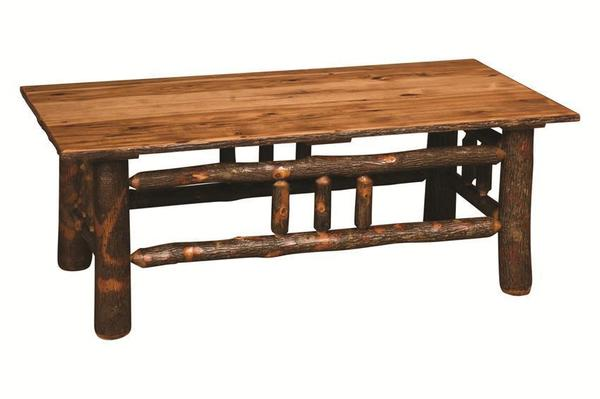 """Amish Rustic Lumberback Hickory 49"""" Coffee Table"""