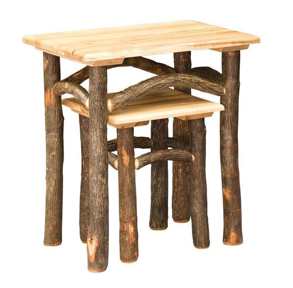 Amish Hoosier Rustic Hickory Nesting Tables