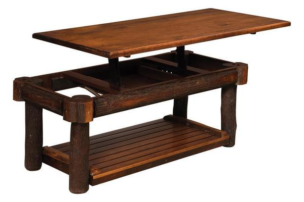 Amish Rustic Coffee Table with Solid Lift Top