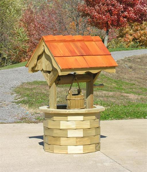 LuxCraft Garden Wishing Well with Cedar Roof - Medium